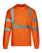 Class 3 Safety Orange Long Sleeve T-Shirt (MAX465)